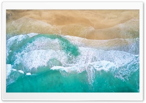 Beautiful Beach Waves Drone Photography Ultra HD Wallpaper for 4K UHD Widescreen desktop, tablet & smartphone