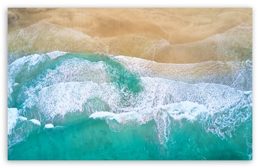 Download Beautiful Beach Waves Drone Photography HD Wallpaper