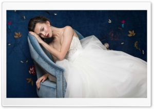 Beautiful Bride, Blue Chair, Room HD Wide Wallpaper for 4K UHD Widescreen desktop & smartphone