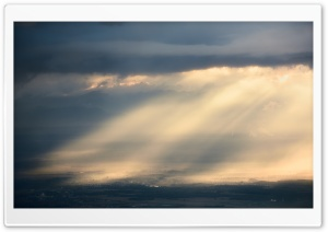 Beautiful Crepuscular Rays Village Panoramic View HD Wide Wallpaper for 4K UHD Widescreen desktop & smartphone