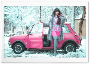 Beautiful Girl, Winter, Pink Retro Small Car Ultra HD Wallpaper for 4K UHD Widescreen desktop, tablet & smartphone