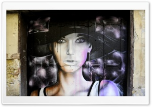 Beautiful Graffiti Portrait HD Wide Wallpaper for Widescreen
