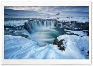 Beautiful Iceland Godafoss Waterfall Winter Snow HD Wide Wallpaper for 4K UHD Widescreen desktop & smartphone