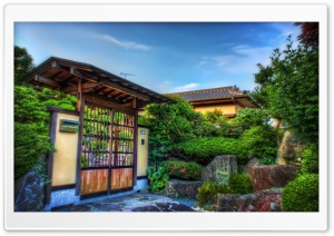 Beautiful Japanese Wooden Gate HD Wide Wallpaper for Widescreen