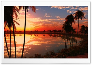 Beautiful Lake Sunset HD Wide Wallpaper for Widescreen