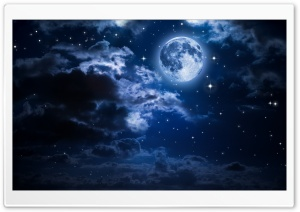Beautiful Moon in the Sky HD Wide Wallpaper for Widescreen