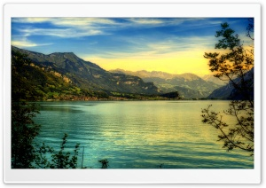 Beautiful Mountains Lake, HDR HD Wide Wallpaper for Widescreen