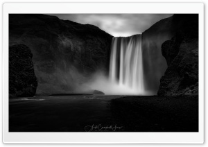 Beautiful Skogafoss Waterfall, Iceland, Black and White Ultra HD Wallpaper for 4K UHD Widescreen desktop, tablet & smartphone