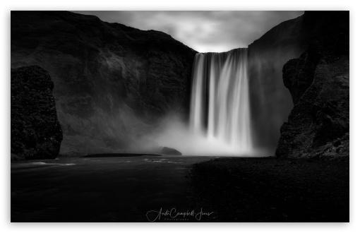 Download Beautiful Skogafoss Waterfall, Iceland, Black... UltraHD Wallpaper