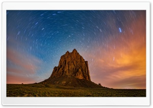 Beautiful Star Trails over Shiprock, New Mexico Ultra HD Wallpaper for 4K UHD Widescreen desktop, tablet & smartphone