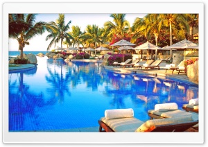 Beautiful Tropical Resort Pool HD Wide Wallpaper for Widescreen