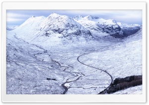 Beautiful Winding Mountain Road Landscape, Scotland, Winter HD Wide Wallpaper for Widescreen