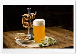 Beer Pint And Pretzels HD Wide Wallpaper for Widescreen