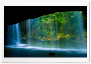 Behind The Waterfall HD Wide Wallpaper for Widescreen