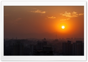 Beijing Orange Sunset HD Wide Wallpaper for Widescreen