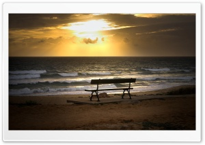 Bench On The Beach HD Wide Wallpaper for Widescreen