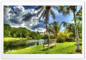Bench On The River Bank HD Wide Wallpaper for 4K UHD Widescreen desktop & smartphone