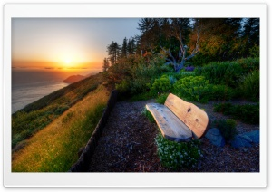 Bench With Sea View, Sunset HD Wide Wallpaper for Widescreen