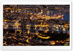 Bergen At Night Panorama HD Wide Wallpaper for Widescreen