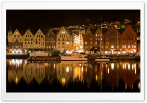 Bergen Norway Night HD Wide Wallpaper for 4K UHD Widescreen desktop & smartphone