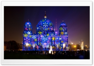 Berlin Cathedral during Festival of Lights HD Wide Wallpaper for Widescreen