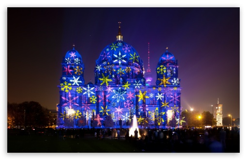 Berlin Cathedral during Festival of Lights HD wallpaper for Wide 16:10 5:3 Widescreen WHXGA WQXGA WUXGA WXGA WGA ; HD 16:9 High Definition WQHD QWXGA 1080p 900p 720p QHD nHD ; UHD 16:9 WQHD QWXGA 1080p 900p 720p QHD nHD ; Standard 4:3 5:4 3:2 Fullscreen UXGA XGA SVGA QSXGA SXGA DVGA HVGA HQVGA devices ( Apple PowerBook G4 iPhone 4 3G 3GS iPod Touch ) ; Tablet 1:1 ; iPad 1/2/Mini ; Mobile 4:3 5:3 3:2 5:4 - UXGA XGA SVGA WGA DVGA HVGA HQVGA devices ( Apple PowerBook G4 iPhone 4 3G 3GS iPod Touch ) QSXGA SXGA ;