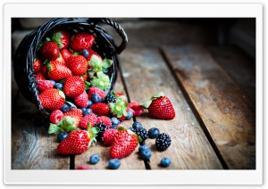 Berries In Basket Macro HD Wide Wallpaper for Widescreen