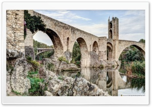 Besalus Romanesque Bridge Catalonia HD Wide Wallpaper for Widescreen