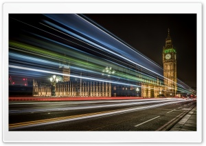 Big Ben Clock Tower Light Trails Night Ultra HD Wallpaper for 4K UHD Widescreen desktop, tablet & smartphone