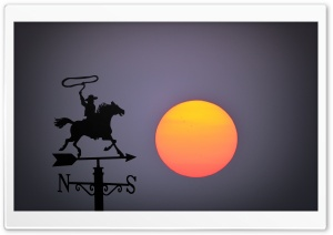 Big Sun Set, Wind Vane HD Wide Wallpaper for Widescreen
