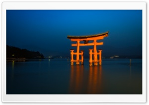 Big Torii Blue Hour HD Wide Wallpaper for Widescreen