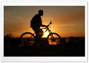 Biker At Sunset HD Wide Wallpaper for 4K UHD Widescreen desktop & smartphone