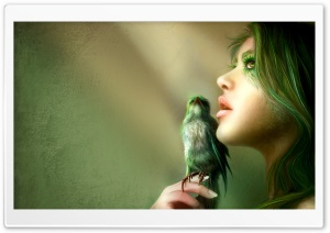 Bird Girl Artwork HD Wide Wallpaper for Widescreen