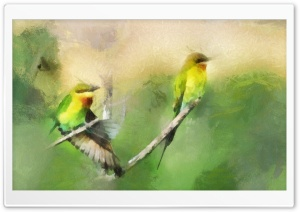 Birds Portrait Painting HD Wide Wallpaper for 4K UHD Widescreen desktop & smartphone