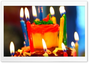Birthday Cake and Candles HD Wide Wallpaper for Widescreen