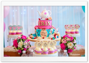 Birthday Party Cake and Cupcakes HD Wide Wallpaper for Widescreen