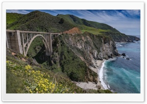 Bixby Creek Arch Bridge, Big Sur coast of California HD Wide Wallpaper for Widescreen