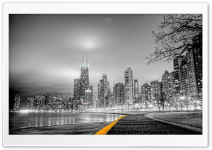 Black & White City HD Wide Wallpaper for Widescreen