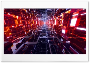 Black and Red Mirrored Tunnel HD Wide Wallpaper for Widescreen