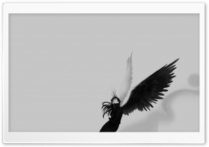 Black And White Angel HD Wide Wallpaper for Widescreen