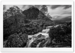 Black and White Buachaille Etive Mor Mountain Waterfall Landscape HD Wide Wallpaper for 4K UHD Widescreen desktop & smartphone