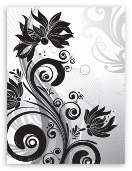 Black And White Flowers HD wallpaper for Mobile 4:3 - UXGA XGA SVGA ;