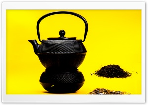 Black Cast Iron Teapot HD Wide Wallpaper for Widescreen