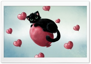 Black Cat And Heart Balloons HD Wide Wallpaper for Widescreen