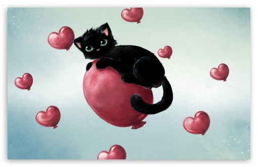 Black Cat And Heart Balloons ❤ 4K UHD Wallpaper for Wide 16:10 5:3 Widescreen WHXGA WQXGA WUXGA WXGA WGA ; 4K UHD 16:9 Ultra High Definition 2160p 1440p 1080p 900p 720p ; Standard 3:2 Fullscreen DVGA HVGA HQVGA ( Apple PowerBook G4 iPhone 4 3G 3GS iPod Touch ) ; Mobile 5:3 3:2 16:9 - WGA DVGA HVGA HQVGA ( Apple PowerBook G4 iPhone 4 3G 3GS iPod Touch ) 2160p 1440p 1080p 900p 720p ;
