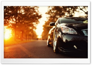 Black Infiniti Car On The Road HD Wide Wallpaper for Widescreen