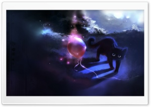 Black Kitty And A Red Balloon HD Wide Wallpaper for Widescreen