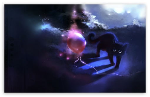 Download Black Kitty And A Red Balloon HD Wallpaper