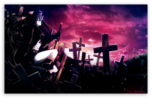Black Rock Shooter, Cemetery ❤ 4K UHD Wallpaper for Wide 16:10 5:3 Widescreen WHXGA WQXGA WUXGA WXGA WGA ; Standard 3:2 Fullscreen DVGA HVGA HQVGA ( Apple PowerBook G4 iPhone 4 3G 3GS iPod Touch ) ; Tablet 1:1 ; iPad 1/2/Mini ; Mobile 4:3 5:3 3:2 - UXGA XGA SVGA WGA DVGA HVGA HQVGA ( Apple PowerBook G4 iPhone 4 3G 3GS iPod Touch ) ;