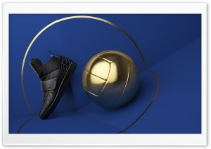 Black Shoes, Golden Ball, Blue Background HD Wide Wallpaper for 4K UHD Widescreen desktop & smartphone